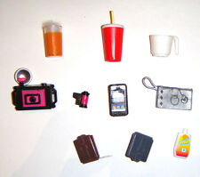 Barbie Doll Sized Accessories, Soda, Camera, Cell Phone For Diorama am6