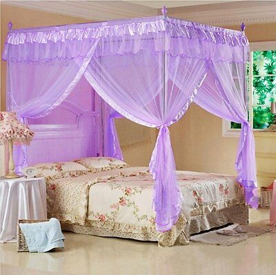 Hight QC 4 Corners Post Bed Canopy Mosquito Net Fit Twin-XL Full Queen Cal King