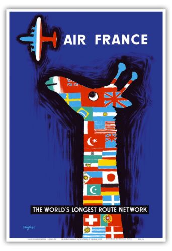 Giraffe Flags Airplane Vintage Airline Travel Art Poster Print