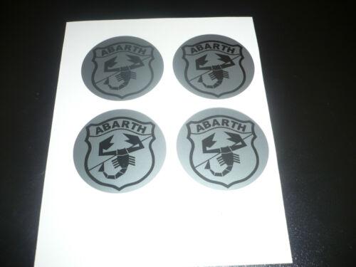 50mm Abarth Wheel Centre Stickers x4 Black /& Silver