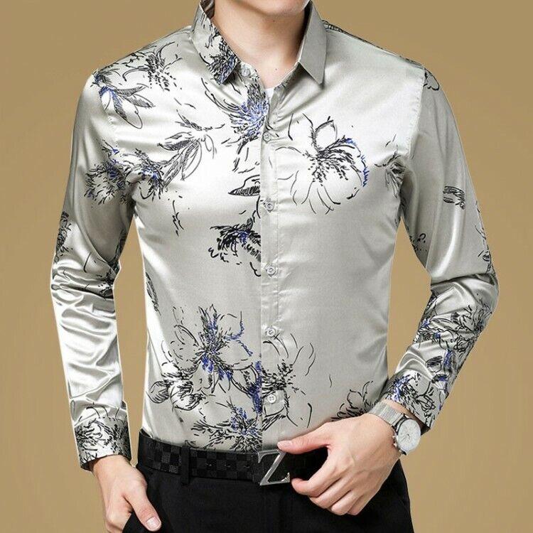 SzM-3XL Mens Buttons Silk Slim Business Dress Shirts Floral Long Tops Zsell