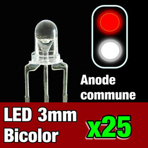 731/25# 25pcs LED bi-color anode commune 3mm blanc - rouge - idéal digital