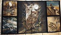N American Wildlife 100% Cotton Fabric Panel 5 Block Free Ship Us 23.5 X 44 Inch