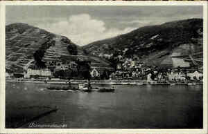 Rhein-bei-Assmannshausen-Kohle-Dampfer-Schiff-1930-Verlag-Hoursch-amp-Bechstedt
