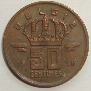 1958-BELGIUM-50-CENTIMES-NICE-WORLD-COIN