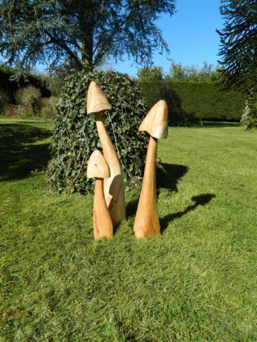 Set of 3 Large Closed Cup Mushrooms 60//50//40cm approx Wooden Mushroom Carving