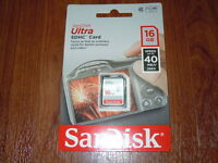 Sandisk Genuine 16gb Sdhc Ultra Memory Card- Class 10 - 40mb/s - Sdsdun-016g-g46