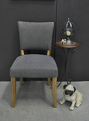 French Style Studded Linen Upholstered Oak Frame Dining Chair Hall Feature Chair
