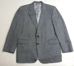 Austin Reed Grey Wool Cashmere Herringbone Suit Jacket Mens 42r Made In England Ebay