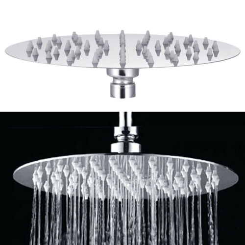 "Large 8/"" Chrome Stainless Steel Water Rainfall Overhead Bath Shower Head Round"