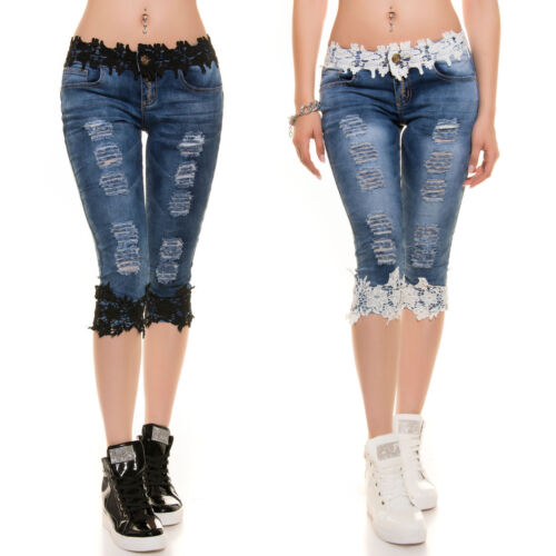 Ladies Girls distressed ripped skinny Capri Jeans with Lace. UK 6 8 10 12 14