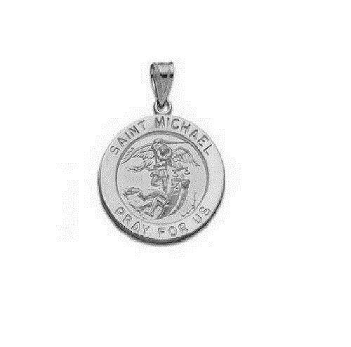 14k white gold saint michael medal charm pendant ebay aloadofball Choice Image