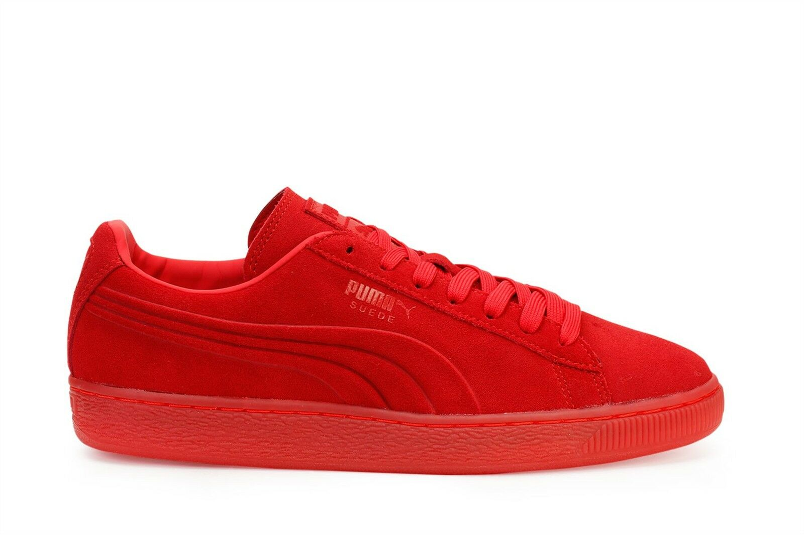 Puma Mens Casual Turnschuhe Suede Embossed Iced High Risk rot 361664-03