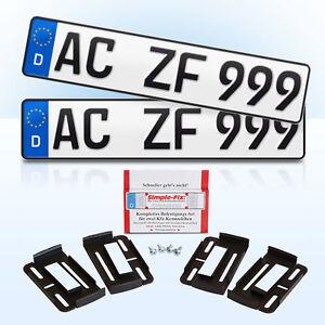 2 Stück EU Kfz-Kennzeichen + 2 Simple Fix Kennzeichenhalter