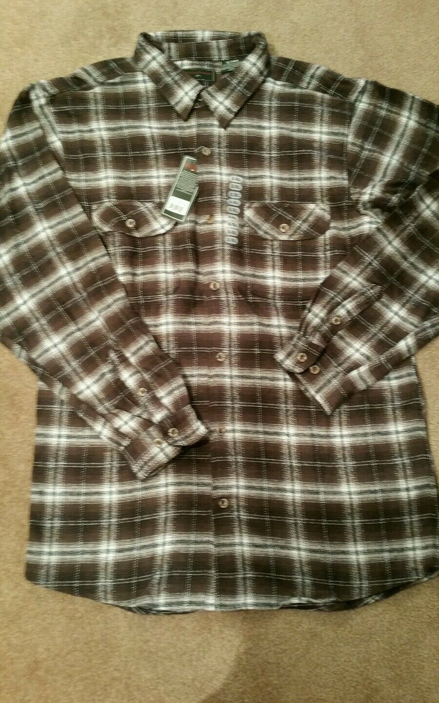 Field & Stream 1871 brown heavy weight plaid button down flannel shirt SZ.XLTALL