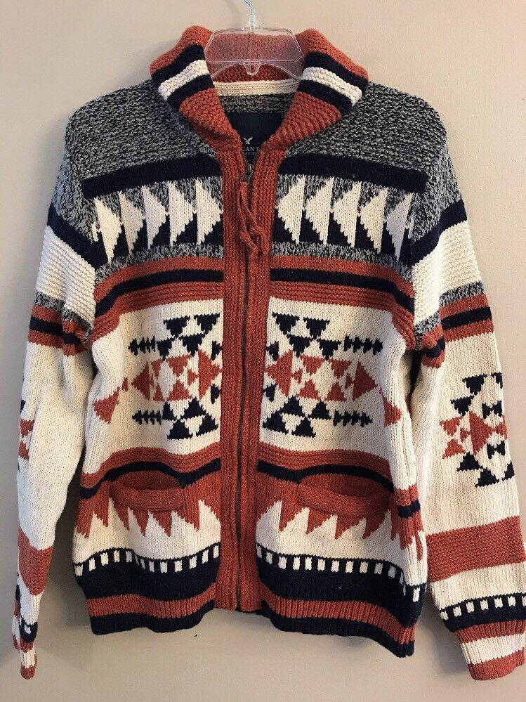 NWOT AMERICAN EAGLE Mens Folk Cardigan Sweater SMALL Full Zip Rust