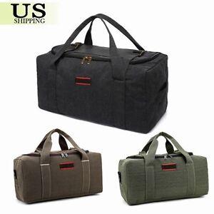 Men-039-s-Military-Canvas-Leather-Gym-Duffle-Shoulder-Bag-Travel-Luggage-Handbag