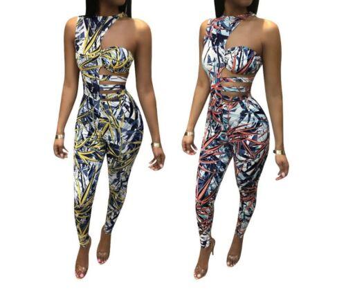 Women Casual One Shoulder Style Print Bodysuit Splicing Hollow Out Jumpsuit J1