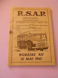 R-S-A-R-Horaire-au-15-Mai-1962-Bureaux-de-Departs-Villefranche-sur-Saone