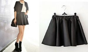 Ladies-Women-Vintage-High-Waisted-Faux-Leather-PU-Skater-Flippy-Flared-Skirt