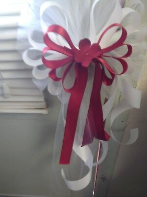 Wedding Bows Ivory And Apple Red Set Of 12 with Pew clips