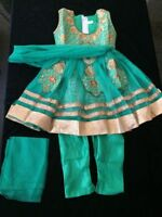 16 Age 0-6mth Fancy Dress Bollywood Salwar Kameez Indian Girls Party Wear Green