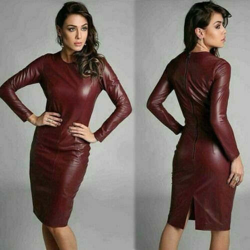 Genuine-Real-Leather-Dress-Bodycon-Slim-Fit-With-Back-Slit