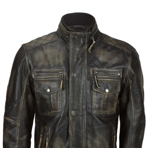 Da Uomo Vintage Rub Off Vera Pelle Da Motociclista Giacca Smart Casual Retrò Stile Militare