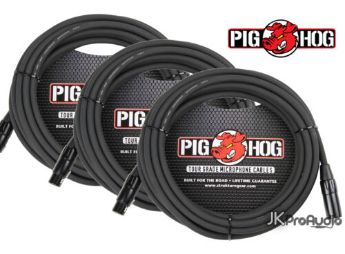 20/' foot XLR to XLR w// LIFETIME Warranty PHM20 3 PACK Pig Hog 8mm Mic Cable