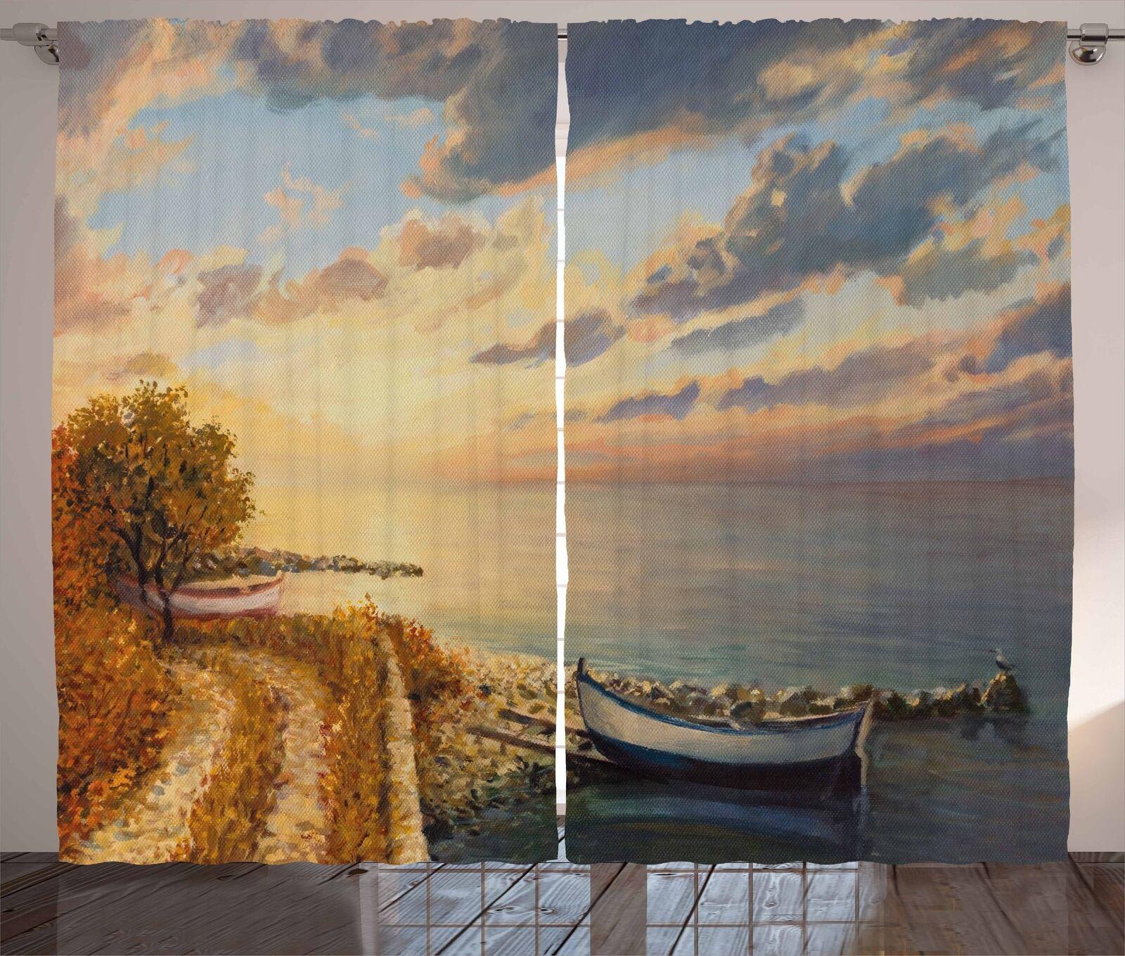 Cortinas de arte romántico amanecer por mar Ventana Cortinas 2 pulgadas Panel Set 108x84