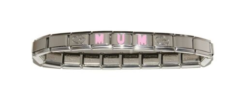 Mother/'s day gift Mum in pink letters  with hearts 9mm Italian charm bracelet