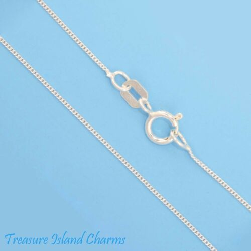 """16/"""" 0.5mm Fine Curb Link 925 Solid Sterling Silver Neck Chain Necklace USA MADE"""
