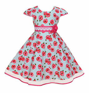 New-Girls-Rose-Party-Dress-in-Blue-Pink-4-5-6-7-8-Years
