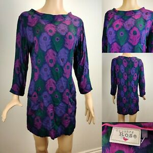 Women's Beautiful COUNTRY ROSE Paisley Short Dress With Pockets Size 12