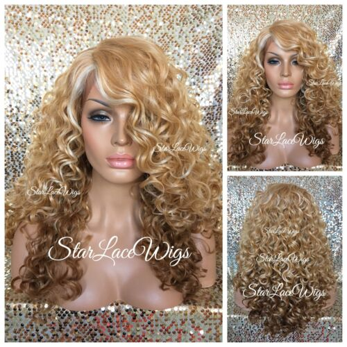 Lace Front Wig Long Curly Ombre Platinum Honey Blonde Mix Layers Heat Safe Ok