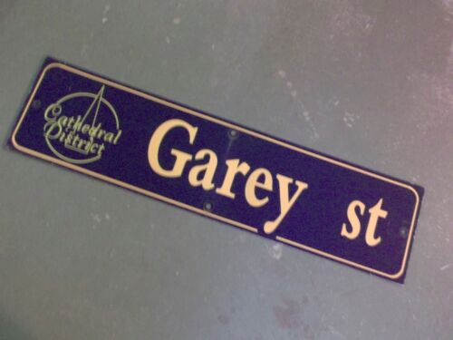 "GOLD on NAVY Ground Vintage GAREY ST Cathedral District Street Sign 36/"" X 9/"""