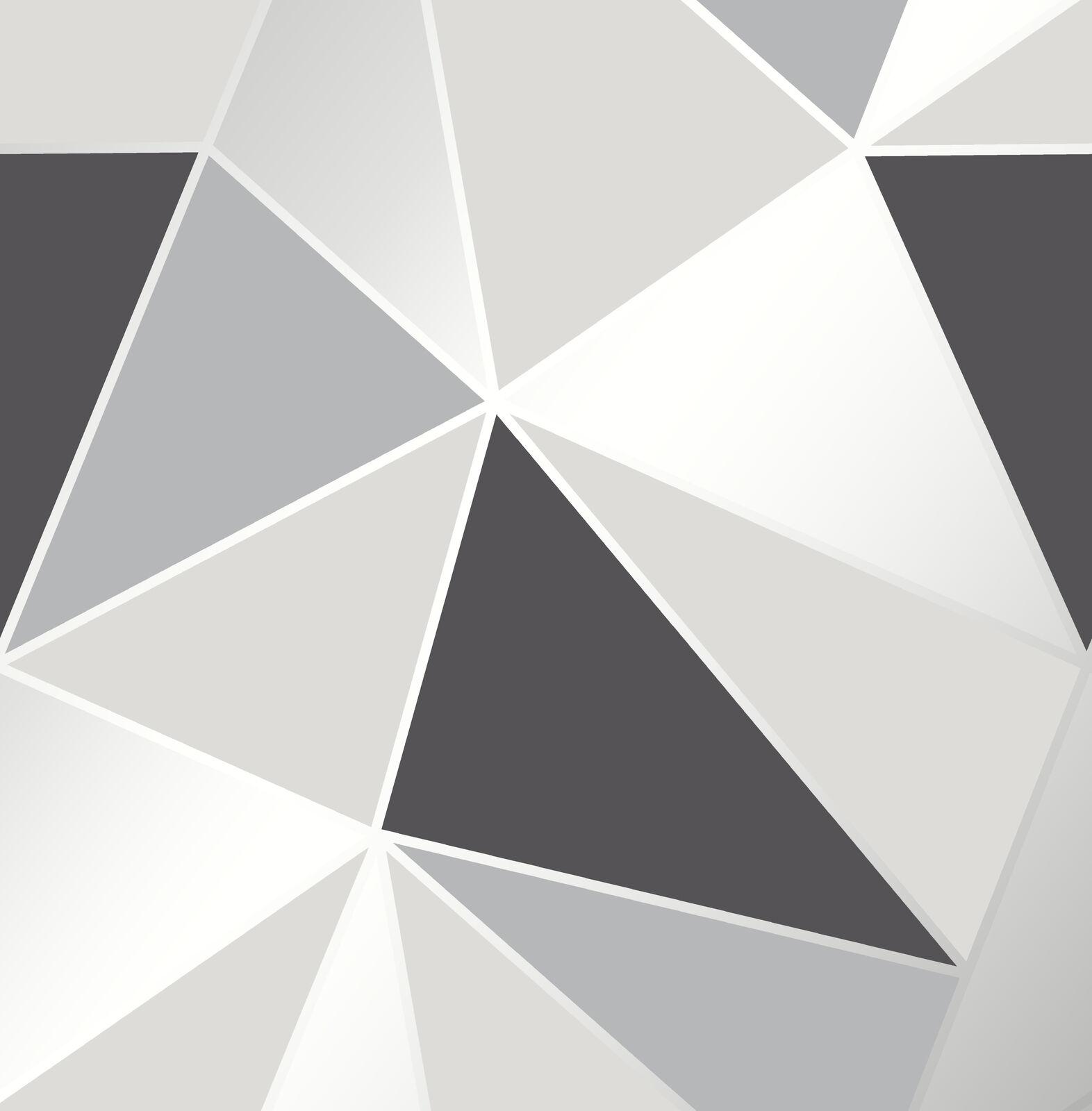 Noir Apex Metallise Argent Geometrique Papier Peint 3d Apex Noir