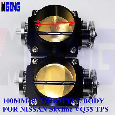 """100MM HIGH FLOW 4/"""" THROTTLE BODY FOR NISSAN SKYLINE VQ35 350Z Z33 TPS RACE Black"""