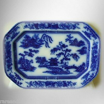 W Ridgway large vintage flow blue willow platter - Formosa Penang - circa 1830