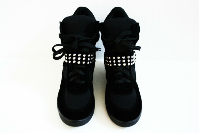 NEW Fashion Women's Lace Up Velcro High Top Ankle Wedge Heels Sneaker Boots Shoe