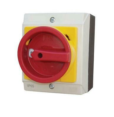 20 Amp 4 Pole Rotary Isolator Switch Surface Mounted Lockable IP65