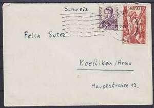 Saarland-Mi-NR-245-250-MiF-Ausland-Brief-Saarbruecken-Schweiz-1949
