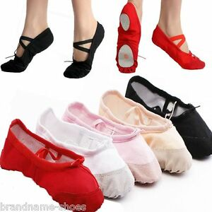 CANVAS BALLET DANCE SLIPPER SPLIT SOLE SHOES GIRLS WOMENS - BLACK PINK WHITE RED