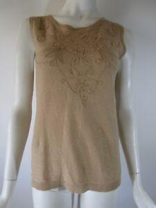 834c4d190b054 DKNY DONNA KARAN NEW YORK Camel Linen Floral Stitch Sleeveless ...