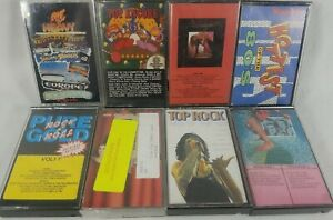1980-98 Lot of 8 Mixed Genres Compilation Audio Cassette Tapes List in Descripti