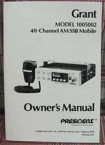 president grant 40 channel am ssb cb radio owners manual model rh ebay co uk cb radio manuals pdf uniden pro510xl cb radio manual