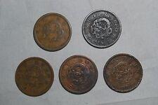 LOT OF 5 JAPAN 2 SEN dragon Copper Yr1874,1880,1881x2,1882