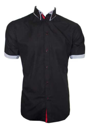 Dominic Stefano Mens Double Collar Shirt with Red Piping 207 Black *S-3XL*