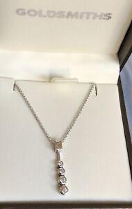 Goldsmiths-18ct-White-Gold-Solitaire-Diamond-Necklace-0-40ct-Square-Drop-Chain