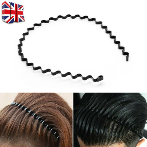 Black Metal Alice band hair headband gripper teeth narrow girls ladies D